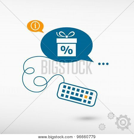 Gift Discount Box And Keyboard On Chat Speech Bubbles