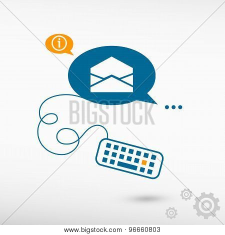 Open Envelope Icon And Keyboard On Chat Speech Bubbles