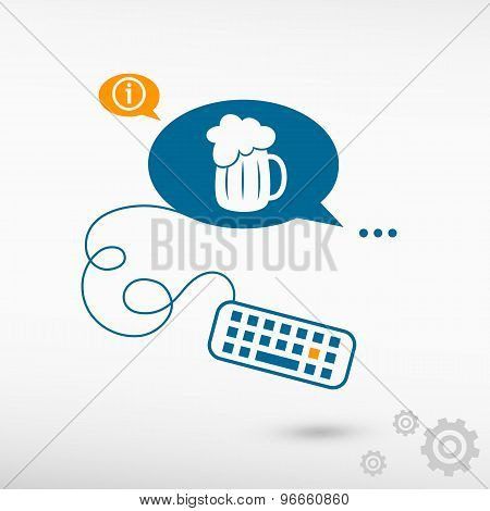 Beer Mug Icon And Keyboard On Chat Speech Bubbles