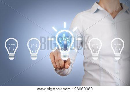 Idea Light Bulb on Touch Screen