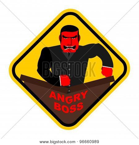 Ferocious Boss. Chief, Businessman Red With Anger. Breaks The Table With His Fist. Vector Sticker, S
