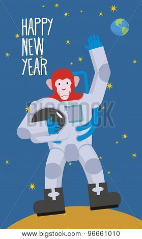 Red Monkey Astronaut Waving Hand. Happy New Year. Chimpanzees In Spacesuit Stands On  Moon In Space.
