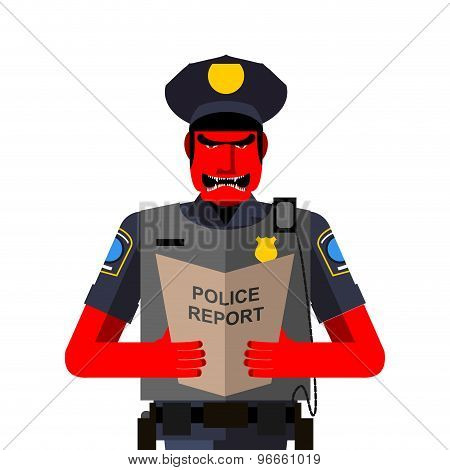 Angry Policeman Shouts. Dreaded Red Man In A Uniform. Vector Illustration