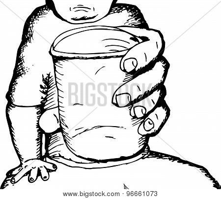 Outline Of Person With Cup