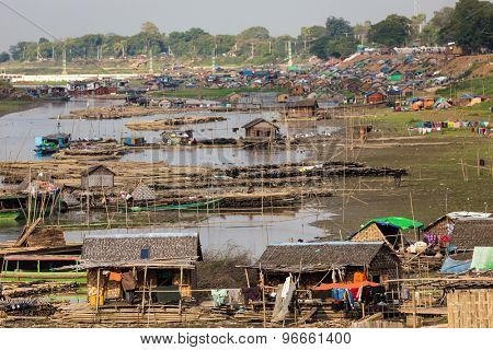 Slum village near the river in the Mandalay city in Myanmar (Burma)