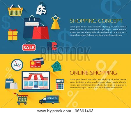 Set of shopping and online shopping concept banners with place for text. Collection of flat educatio