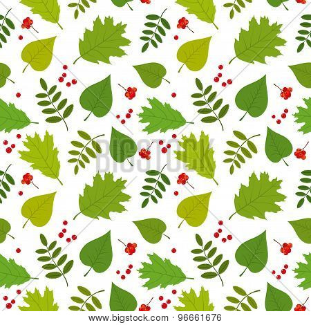 Forest seamless pattern with rowan berries, oak, rowan, lilac leaves. Vector set. White background.