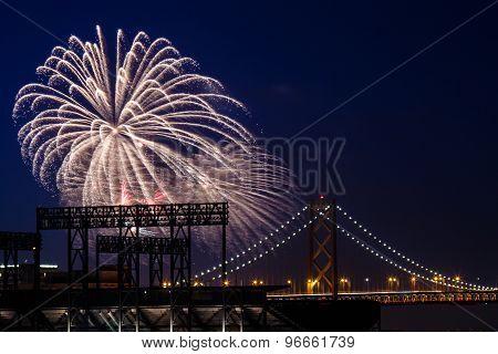 Fireworks At San Francisco-oakland Bay Bridge