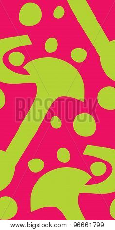 Seamless Green Shapes Over Pink