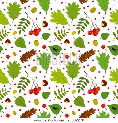 Forest seamless pattern with rowan berries, leaves, acorn, chestnut, pine cone, beetle. Vector set.