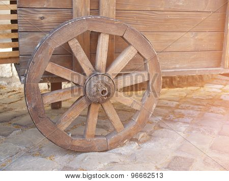 Wooden Wheels On The Cart.