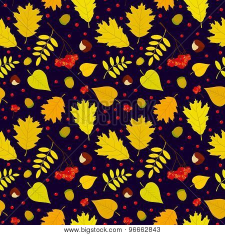 Autumn forest seamless pattern with rowan berries, leaves, acorn, chestnut. Vector set. Dark blue ba