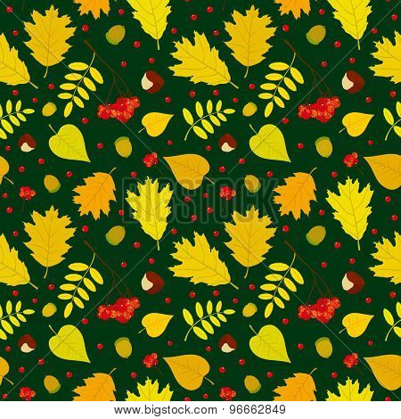 Autumn forest seamless pattern with rowan berries, leaves, acorn, chestnut. Vector set. Dark green b