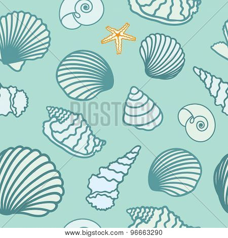 Seashell and starfish background. Seamless pattern. Vector illustration.