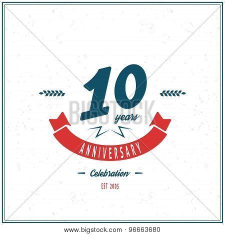 Ten years anniversary celebration logotype. 10th anniversary logo.
