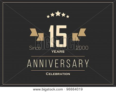 Fifteen years anniversary celebration logotype. 15th anniversary logo.