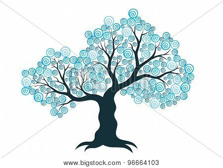 Vector illustration of abstract winter tree on white background
