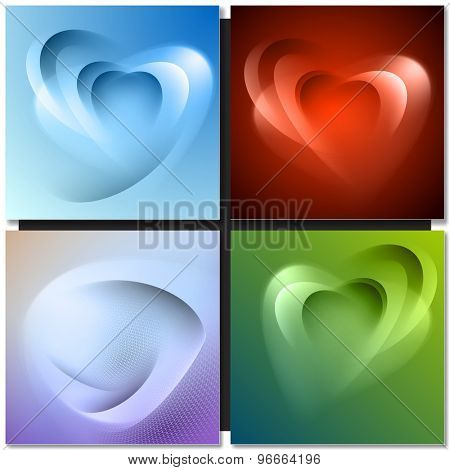 Abstract background with light lines and shadows heart shaped