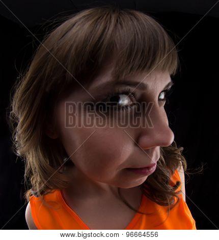 Photo of woman in orange dress, fish eye