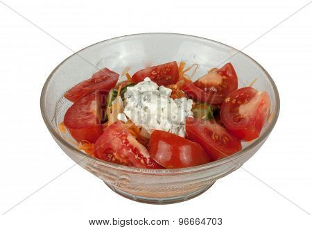 Bowl Of Tomato Based Salad Accompaniment For Indian Curry