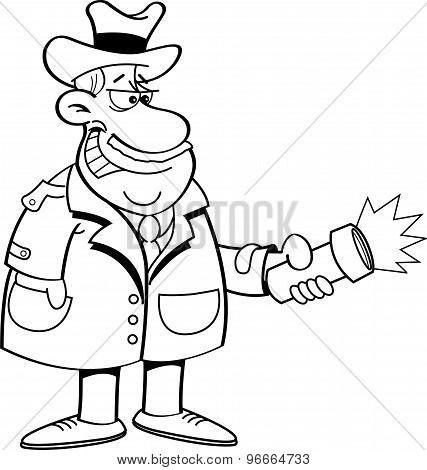 Cartoon detective holding a flashligh