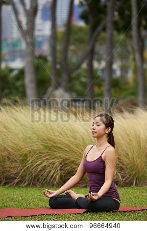 young fitness woman in the park doing yoga pose  meditating in lotus pose