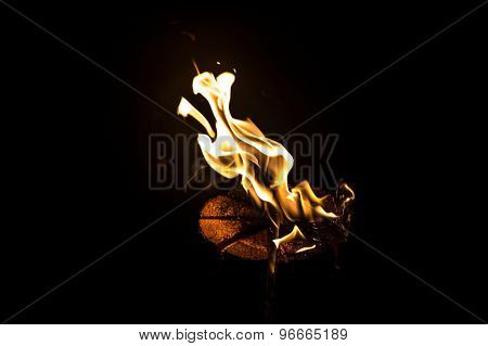 Image blazing piece of wood