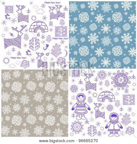 Collection of new years wallpaper with snowflakes, reindeer, inuit and igloo