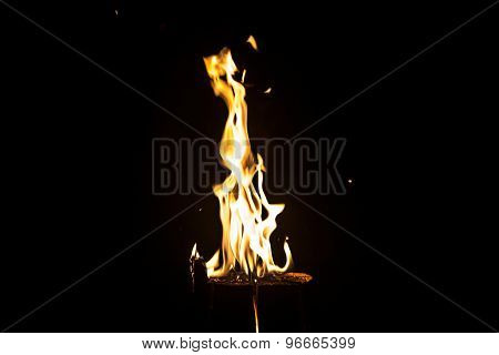 Image of bright flaming log