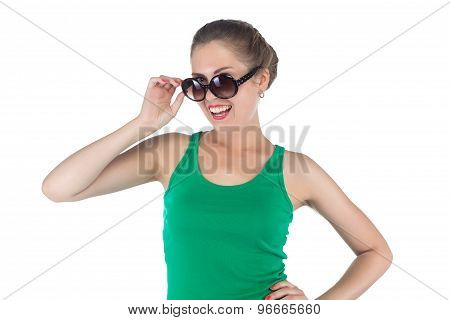 Image of happy smiling woman with sunglasses