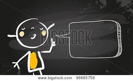 Little girl speaking a message, with blank speech balloon drawn with chalk on blackboard. Doodle, scribble style sketchy illustration, vector line art. Communication concept.