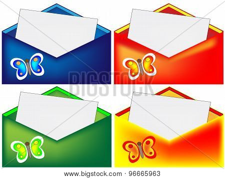 Red blue green and yellow envelope with butterfly