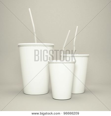 Disposable Cup Of Big Volume For Beverages With Straw On A Gray  Background