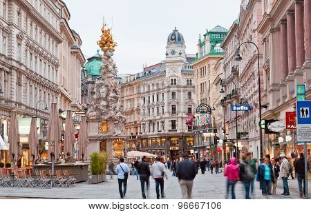 Tourists On Foot Graben Street In Vienna.
