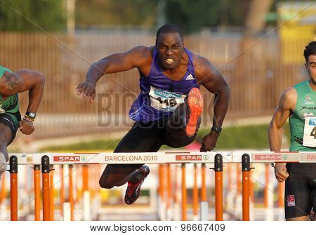 BARCELONA - JULY, 8: Jamaican athlete Dwight Thomas during 110 m hurdles of the Athletics International Meeting of Catalan Federation at the Serrahima Stadium on July 8 2015 in Barcelona, Spain