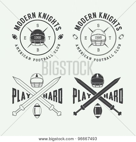Set Of Vintage Rugby And American Football Labels, Emblems And Logo.