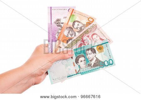 Dominican Republic Money In Female Hands, Closeup