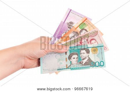 Dominican Republic Money In Female Hand
