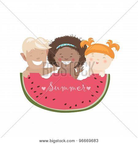Funny children eating watermelon