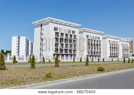 ADLER, RUSSIA - JULY 29, 2014: four buildings of Bridge Resort hotel