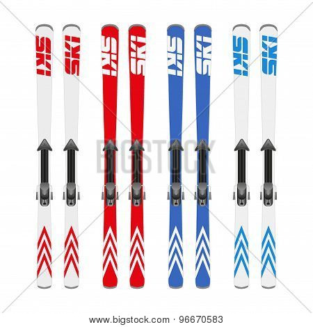 Different color of skiing