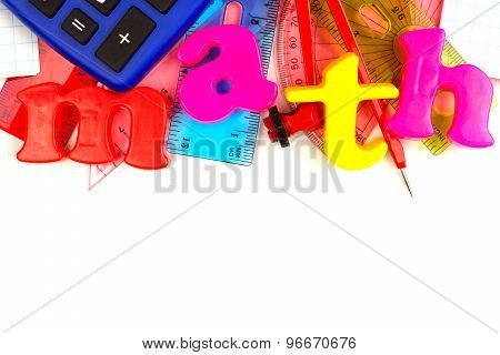 Math magnetic letters with school supplies