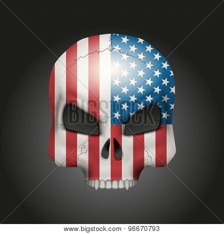 Skull with USA flag