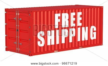 Free Shipping Concept With Cargo Container