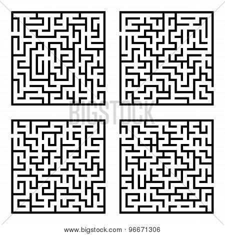 Set of mazes labyrinths.