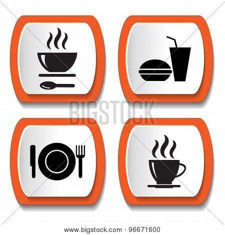 Set of vector icons with food