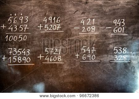 Arithmetic operations with rational numbers, additions and subtractions, handwritten on an old chalkboard during the maths class