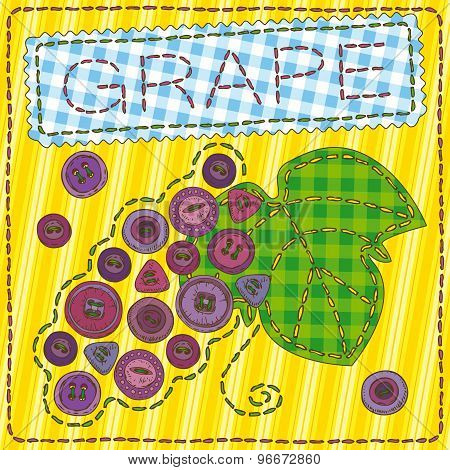 Funny patchwork with grapes and buttons