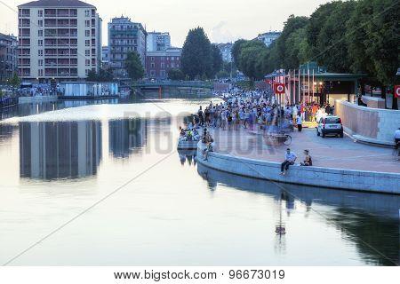 Darsena, Milan city, summer night. Color image
