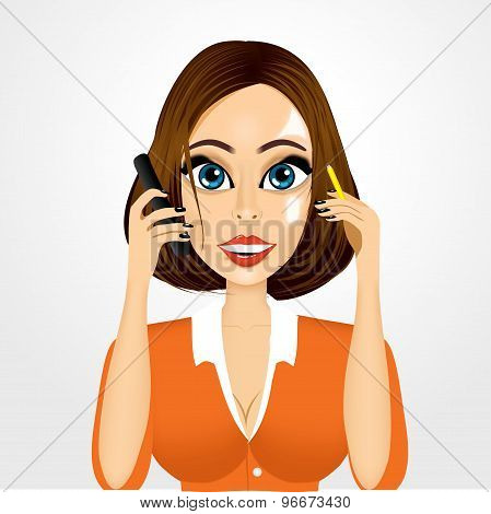 realistic smiling secretary talking on the phone